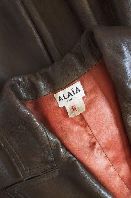 1980s Alaia Olive Leather Bustle Back Coat or Dress 8