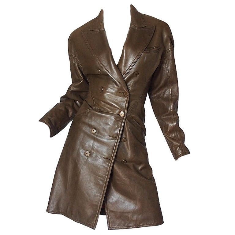 1980s Alaia Olive Leather Bustle Back Coat or Dress 1