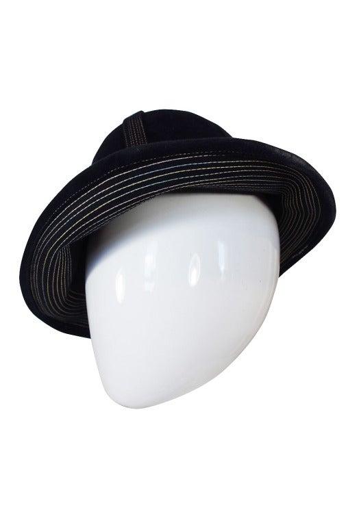 1970s Yves Saint Laurent Chic Blue Felt Fedora Hat 3