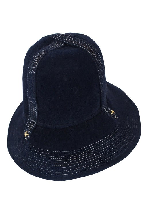 Yves Saint Laurent Chic Blue Felt Fedora Hat, 1970s  In Excellent Condition For Sale In Toronto, ON