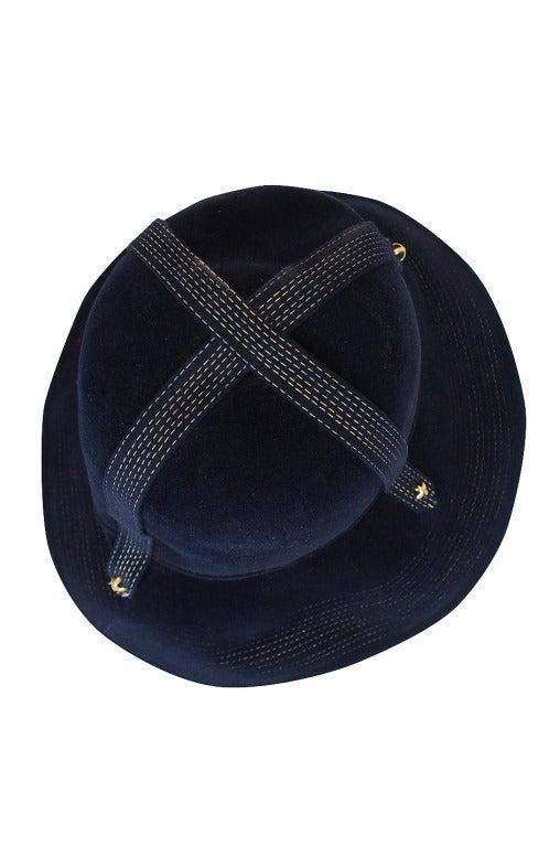 1970s Yves Saint Laurent Chic Blue Felt Fedora Hat 5