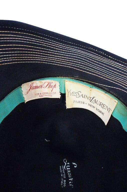 1970s Yves Saint Laurent Chic Blue Felt Fedora Hat 6