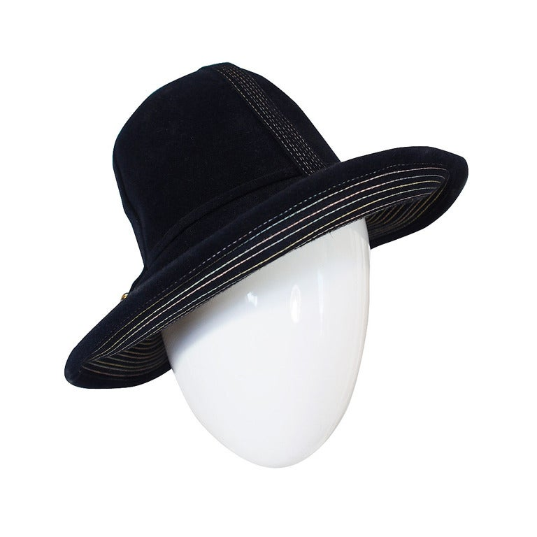 Yves Saint Laurent Chic Blue Felt Fedora Hat, 1970s