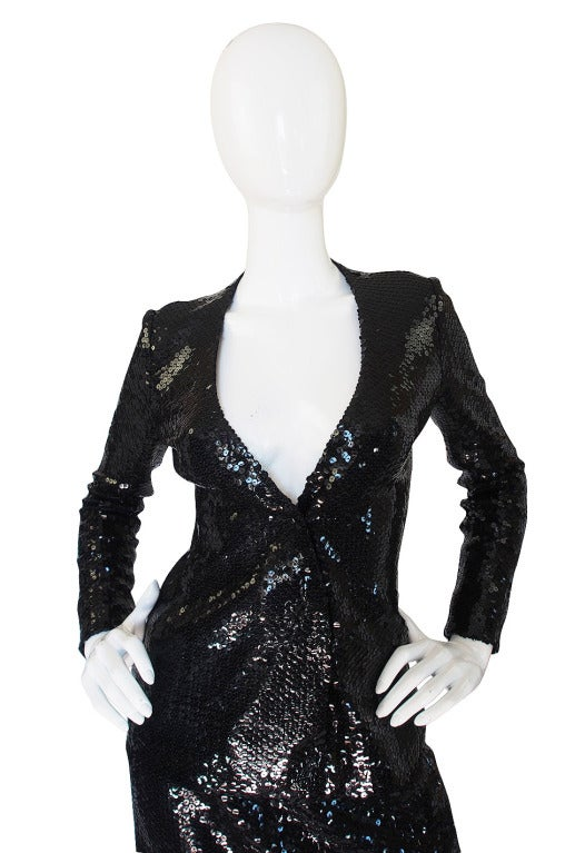Women's Halston Couture Glossy Black Sequin Evening Suit, circa 1973 For Sale