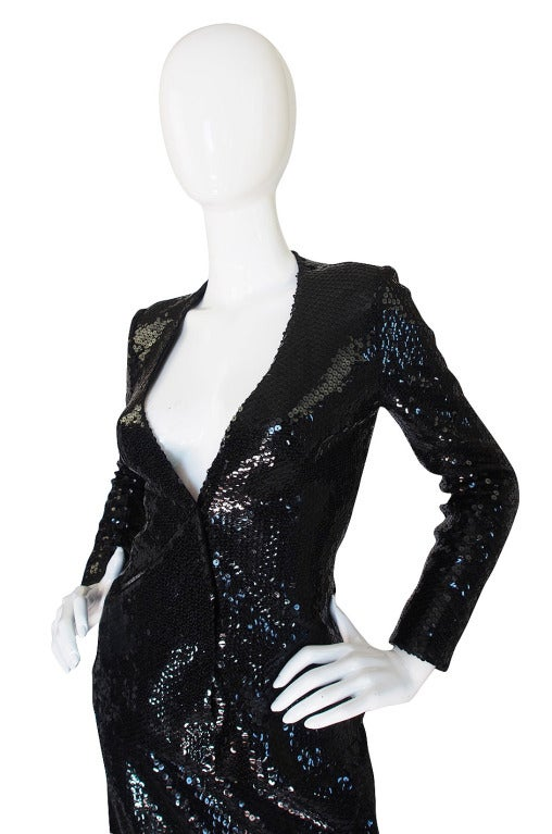 Halston Couture Glossy Black Sequin Evening Suit, circa 1973 For Sale 1