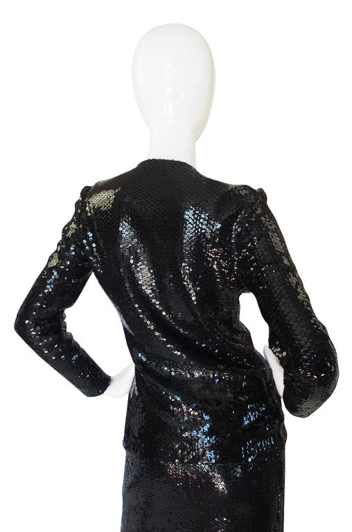 Halston Couture Glossy Black Sequin Evening Suit, circa 1973 For Sale 2