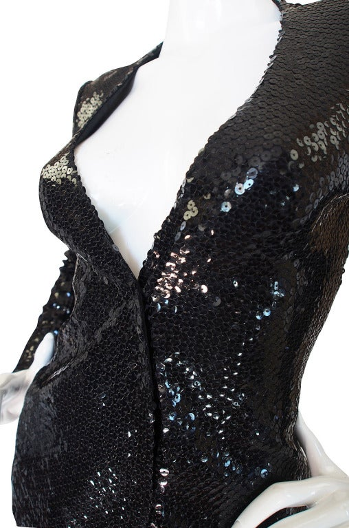 Halston Couture Glossy Black Sequin Evening Suit, circa 1973 For Sale 3