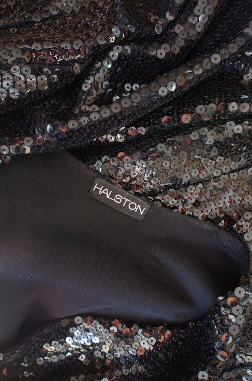 Halston Couture Glossy Black Sequin Evening Suit, circa 1973 For Sale 4