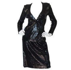 Halston Couture Glossy Black Sequin Evening Suit, circa 1973