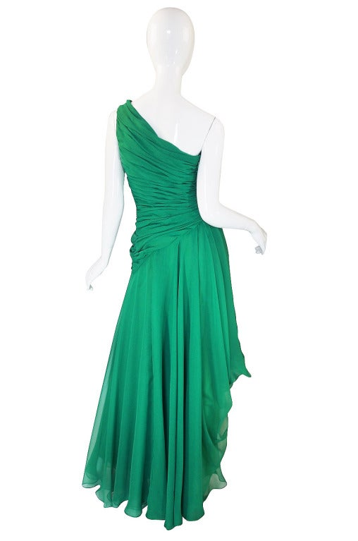 1980s Scaasi Emerald Green One Shoulder Chiffon Gown 2