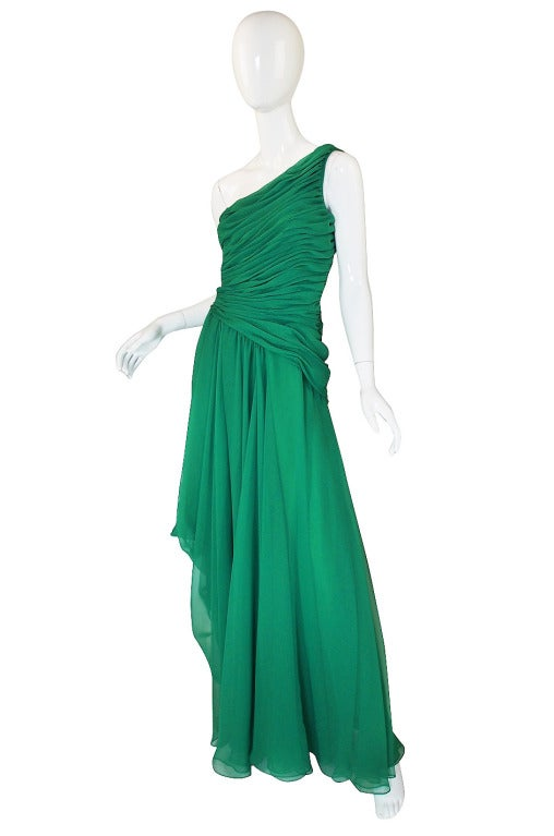 1980s Scaasi Emerald Green One Shoulder Chiffon Gown 3