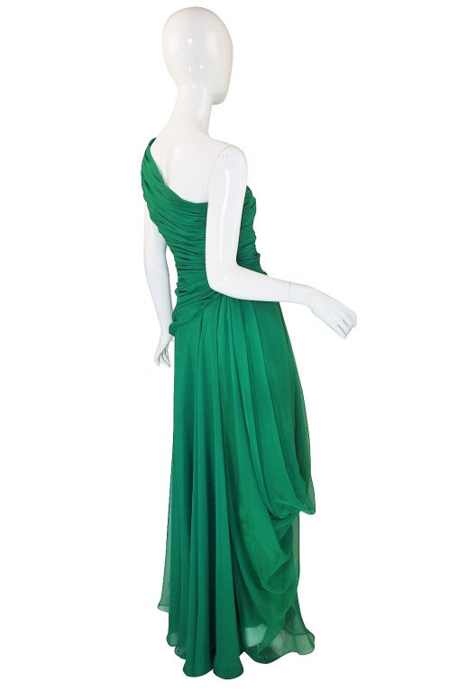 1980s Scaasi Emerald Green One Shoulder Chiffon Gown 4