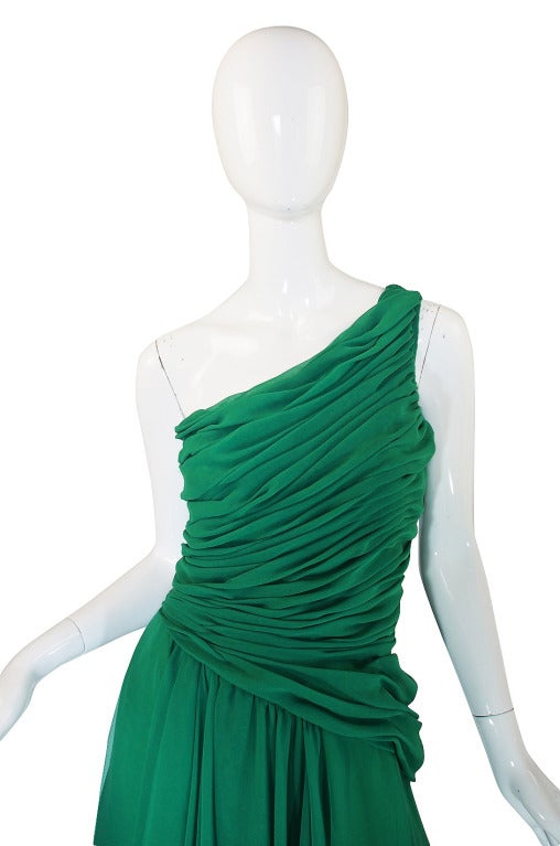 1980s Scaasi Emerald Green One Shoulder Chiffon Gown 5