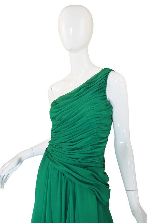 1980s Scaasi Emerald Green One Shoulder Chiffon Gown 6