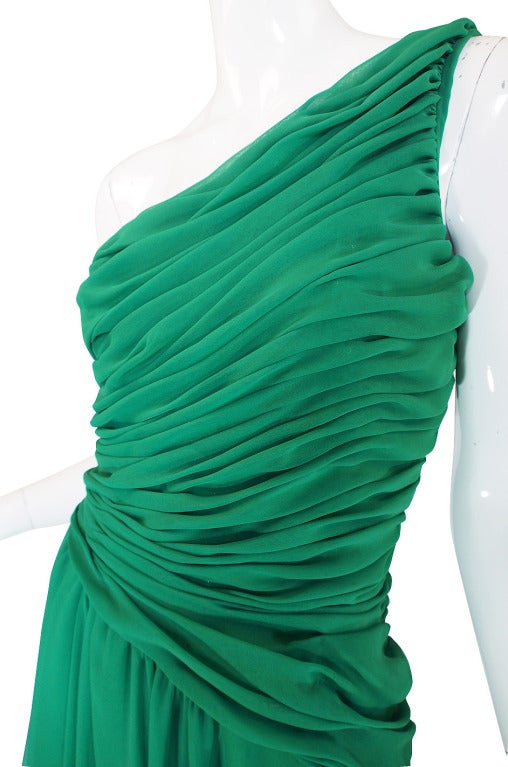 1980s Scaasi Emerald Green One Shoulder Chiffon Gown 7