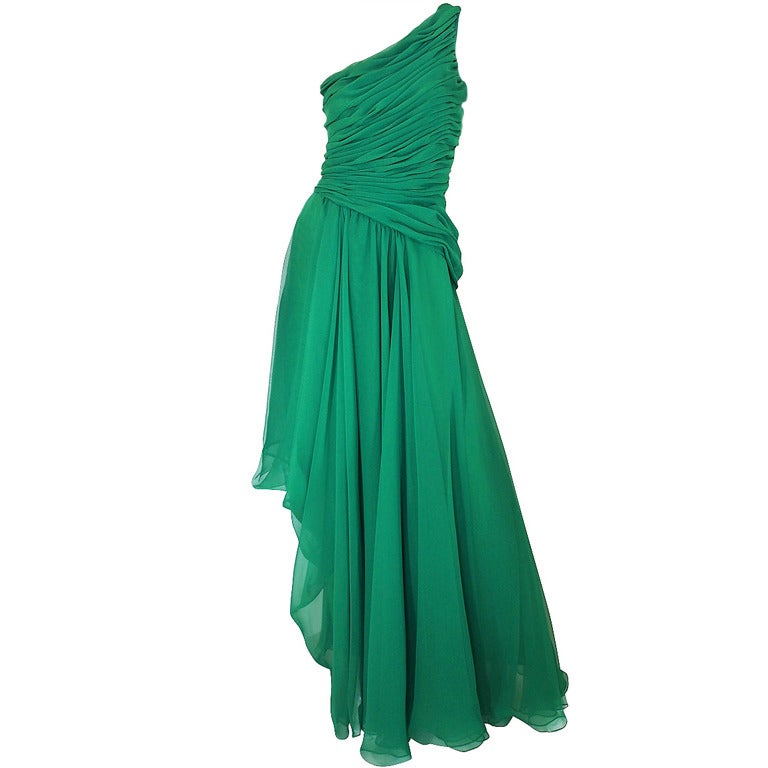 1980s Scaasi Emerald Green One Shoulder Chiffon Gown 1