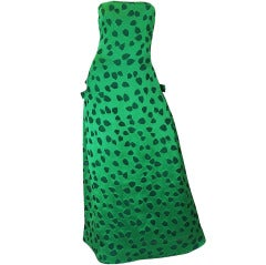 1980s Arnold Scaasi Boutique Green Strapless Dress with Hearts