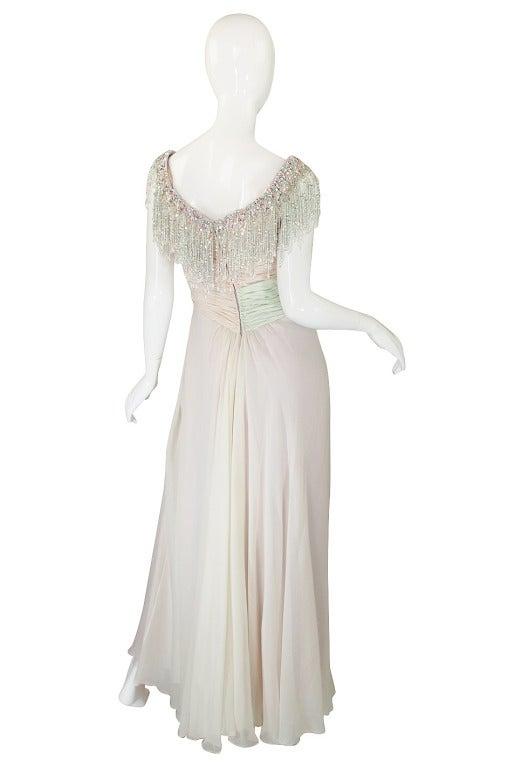 1970s Bob Mackie Pastel & Beaded Silk Gown 2