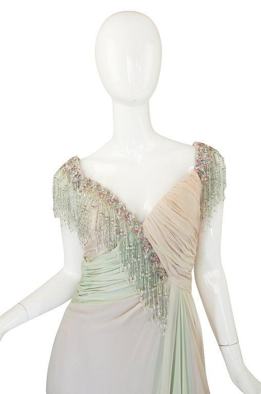1970s Bob Mackie Pastel & Beaded Silk Gown 3