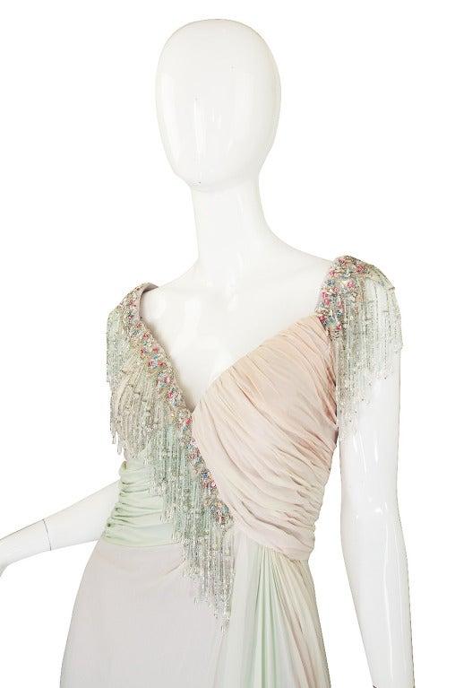1970s Bob Mackie Pastel & Beaded Silk Gown 4