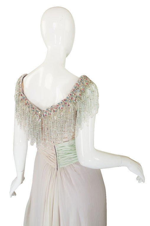 1970s Bob Mackie Pastel & Beaded Silk Gown 6