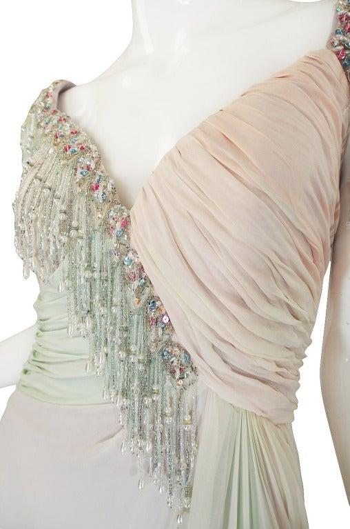 1970s Bob Mackie Pastel & Beaded Silk Gown 7
