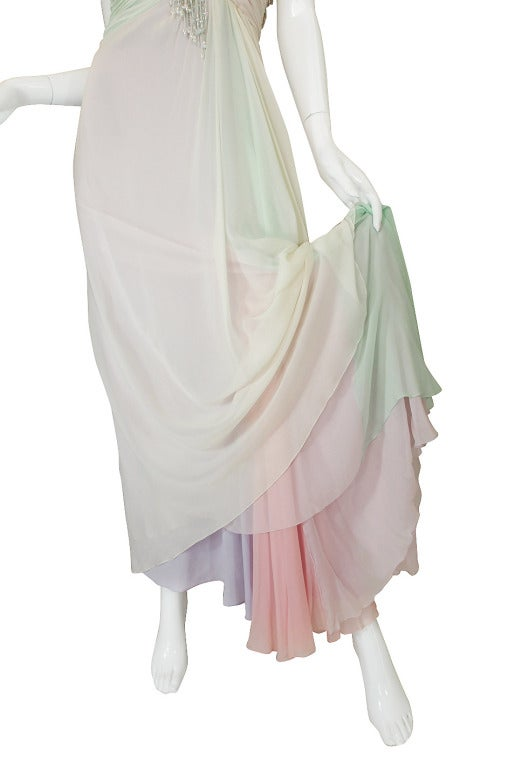 1970s Bob Mackie Pastel & Beaded Silk Gown 9