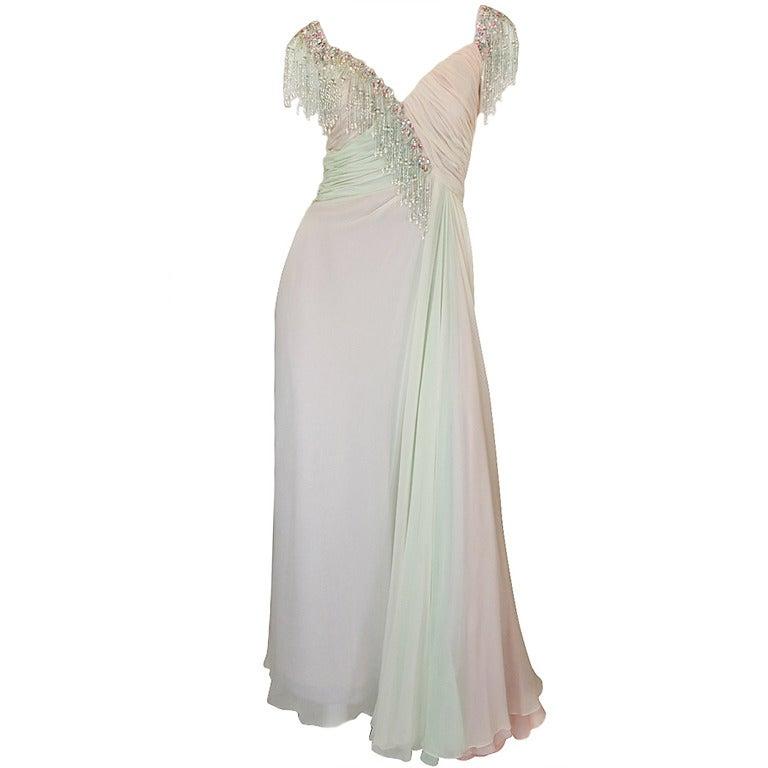 1970s Bob Mackie Pastel & Beaded Silk Gown 1