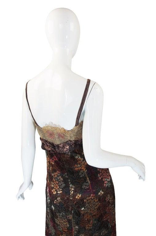 Women's Christian LaCroix Golden Lace Gown, 1980s  For Sale