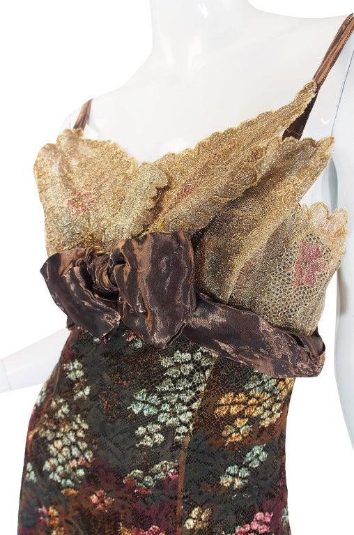 Christian LaCroix Golden Lace Gown, 1980s  For Sale 1