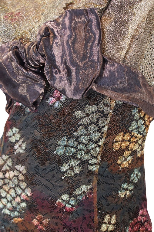 Christian LaCroix Golden Lace Gown, 1980s  For Sale 3