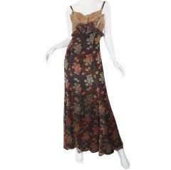 1980s Christian LaCroix Golden Lace Gown