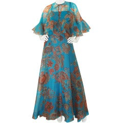 1960s Hardy Amies Fine Printed Silk Voile Dress & Cape Set