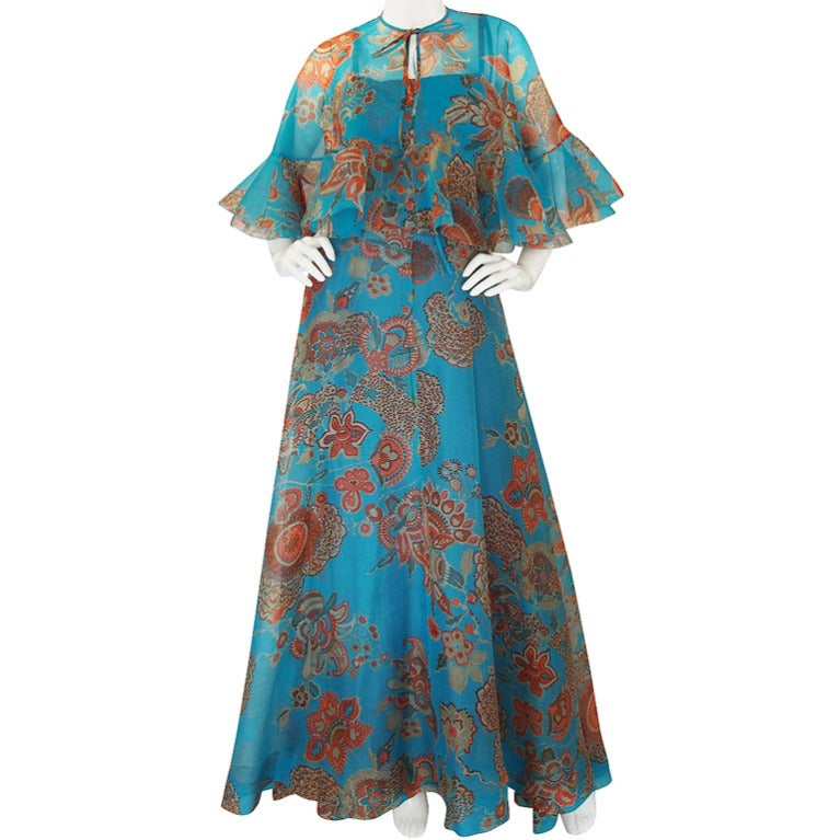 Hardy Amies Fine Printed Silk Voile Dress and Cape Set, 1960s