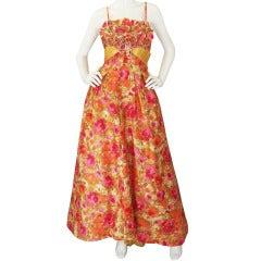 1950s Stunning Applique Floral Ballgown