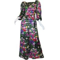 1970s Vibrant Floral Silk & Gold Michael Novarese Gown