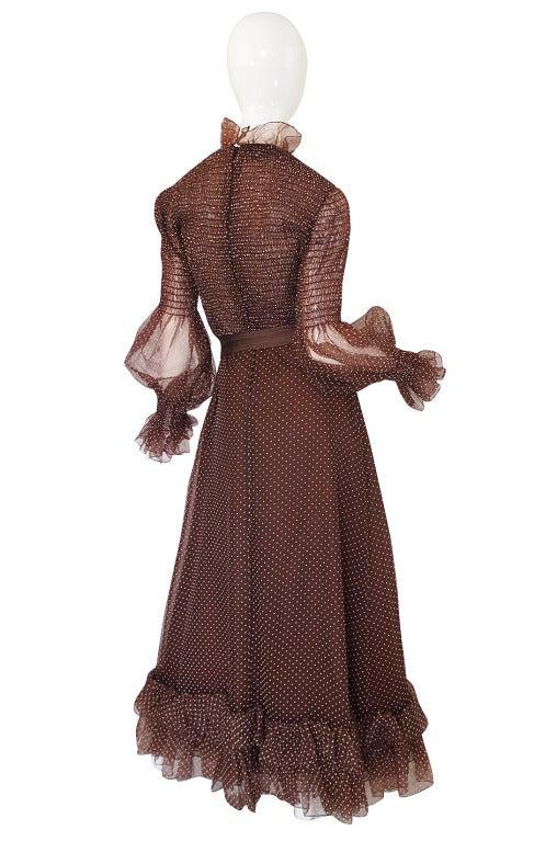 1970s Adolfo Organza Dot Ruffle Gown 2