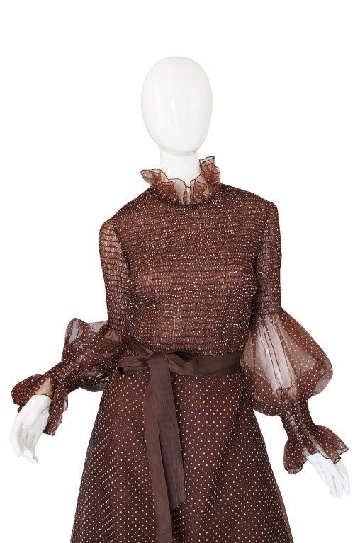 1970s Adolfo Organza Dot Ruffle Gown 3