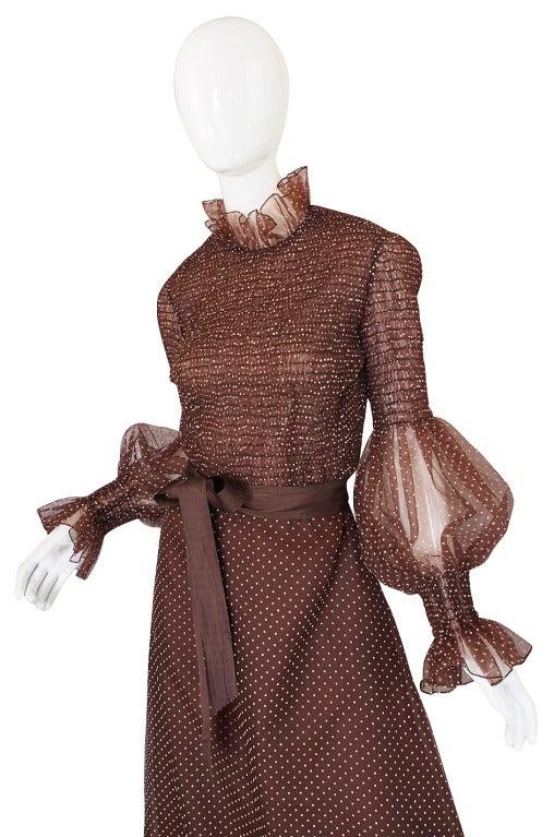 1970s Adolfo Organza Dot Ruffle Gown 4