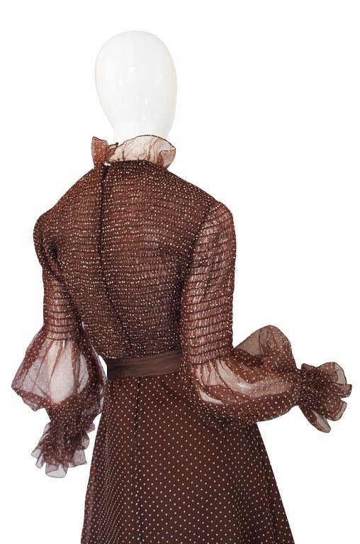 1970s Adolfo Organza Dot Ruffle Gown 5