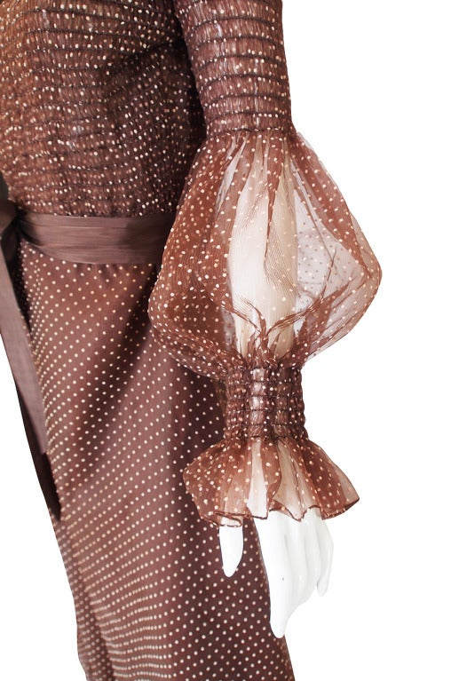 1970s Adolfo Organza Dot Ruffle Gown 7