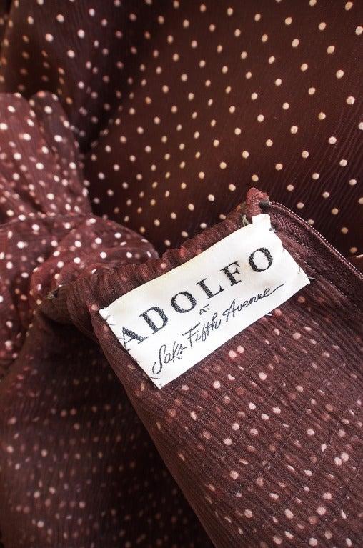 1970s Adolfo Organza Dot Ruffle Gown 8