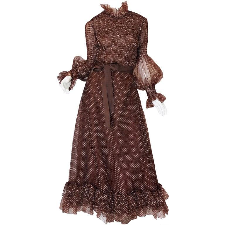 1970s Adolfo Organza Dot Ruffle Gown 1