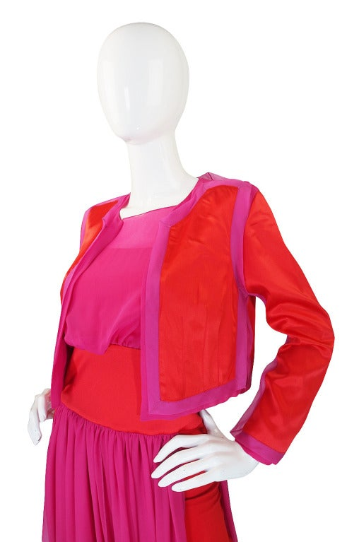 1980s Red And Pink Gianfranco Ferre Silk Dress At 1stdibs