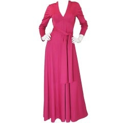 1970s Victor Costa Raspberry Colored Jersey Maxi Dress