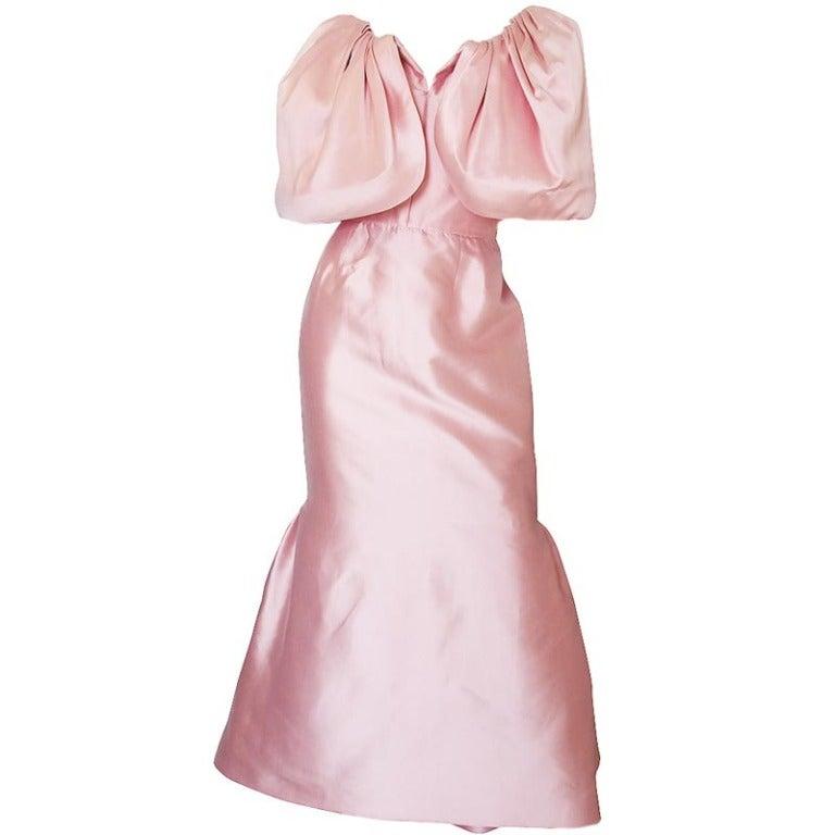1980s Larger Caped Silk Oscar De La Renta Gown For Sale