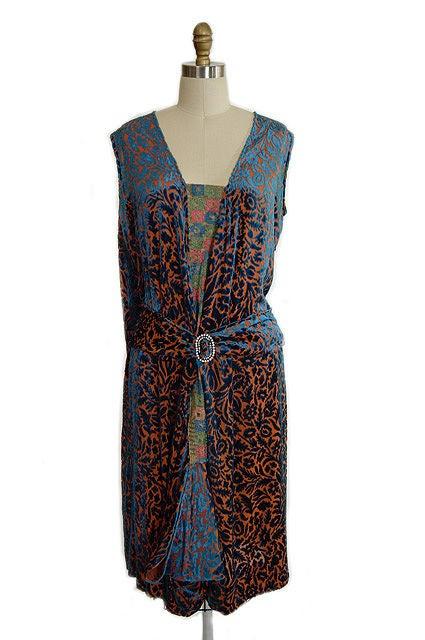 1920s Silk Devore Flapper Dress 5