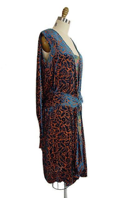 1920s Silk Devore Flapper Dress 6