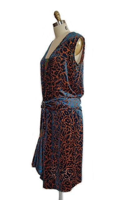 1920s Silk Devore Flapper Dress 7