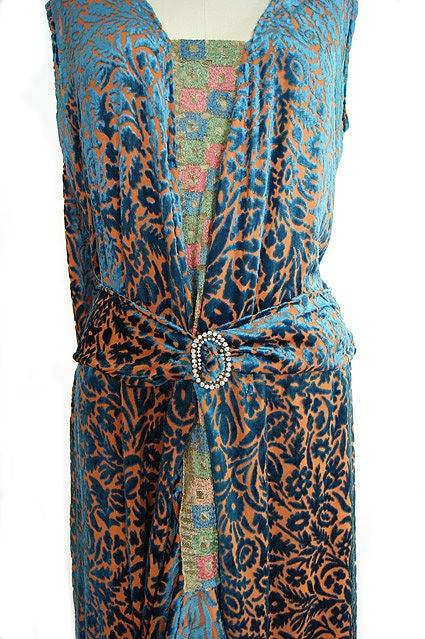 1920s Silk Devore Flapper Dress 9